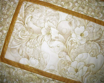 Elegant Table Runner, floral. 47 x 14 inches, gold metallic, quilted table runner, handmade, fabric from Robert Kaufman
