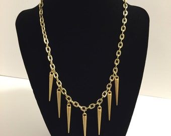 Matte Gold Spikes Necklace - Spike Necklace - Soft Gold Necklace - Fancy Goth