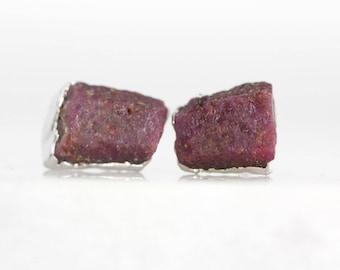 ruby stud earrings   ruby earrings   red ruby studs   raw crystal studs   july birthstone studs   july birthstone earrings   raw stone studs