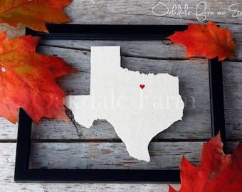 TEXAS LOVE 11x14 Map Gift * Custom Framed Handmade Canvas Art * State & City * Moving Birthday Wedding Anniversary Graduation Engagement