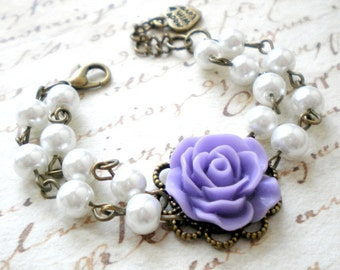 Flower Girl Wedding Jewelry Gift For Junior Bridesmaid Flower Girl Bracelet Lavender Bracelet Gift For Little Girl Baby Girl Bracelet