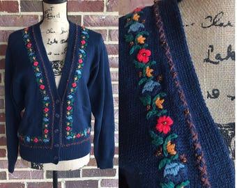 Vintage navy blue floral embroidered cardigan sweater //  floral cardigan sweater size small medium // 1980s cardigan sweater size s size m
