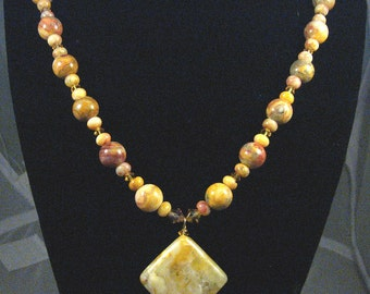 Yellow Crazy Lace Agate Necklace