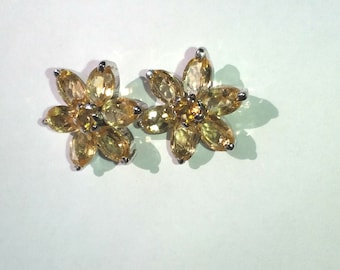 925 Sterling Silver and golden topaz rhodium plated earring