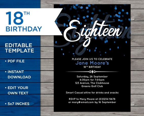 18th Birthday Invitation 18th Birthday Invitation Template