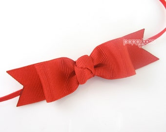 Red Baby Headband Bow - Red Baby Headband - Skinny Elastic - Solid Color - Newborn Baby Toddler Girl