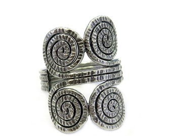 Boho Ethnic Spirals Wide Statement Ring, Handmade Sterling Silver Hammered textured Adjustable Ring, Can be Thumb ring