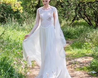 Boho Wedding Dress, Bridal Dress, Lace Top, Wedding Gown, Beaded Lace, Simple Lace Dress, Open Back Wedding Dress, Vintage Wedding, Bohemian