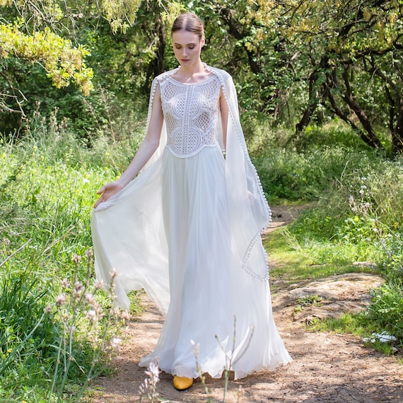 Boho wedding dress bridal dress lace top wedding gown junglespirit Images