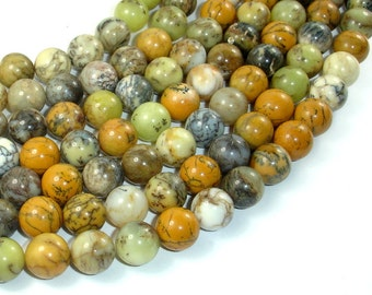 Dendritic Opal Beads, Yellow Moss Opal Beads, 10mm Round Beads, 16 Inch, Full strand, Approx 39 beads, Hole 0.8 mm, A quality (441054003)