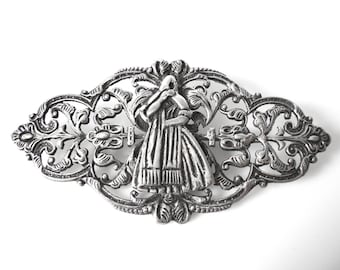 Peruvian Handmade Sterling Silver Brooch With Cutwork Centered With A Peasant Woman