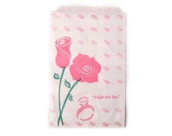 """100 Pink Rose Merchandise Retail Paper Party Favor Gift Bags 4"""" x 6"""" Tall"""
