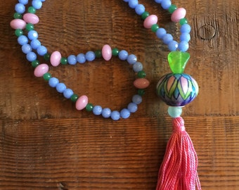 Pink, Green, Blue with Pink Tassel and Handpainted Bead Head