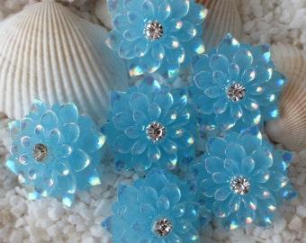 Resin Rhinestone AB Flower Cabochon - 20mm - 12 pcs - Bright Turquoise Blue