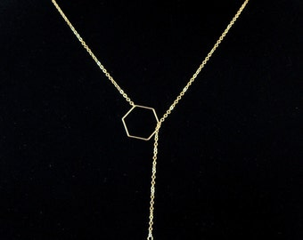 Lariat Y Necklace with Thin Gold Hexagon and Swarovski Crystal Pendant Chain Necklace - Very elegant!