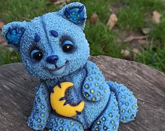 Hanmade lunar fox, Personalized blue fox, animal Miniature fox, fox polymer clay, cute miniature toy, fox toy plush