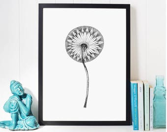 Black and White Dandelion Painting Mothers Day Gift; Flower Decor Minimalist Art Print; Botanic Gift; Dandelion Print; Bedroom Wall Decor