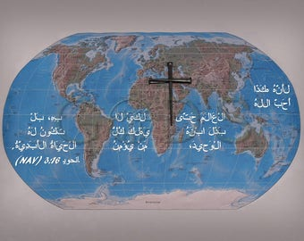 Scripture Picture,John 3:16,NAV,New Arabic Version,Map of the World,Cross,God So Loved,Scripture Photo,New Testament,Still Life Photography