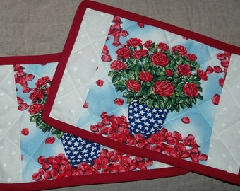 4th July Flowers Red White and Blue Mug Rugs