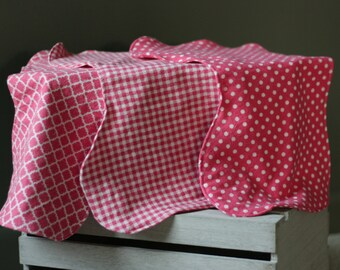 Coral Burp Cloths- Set of 3