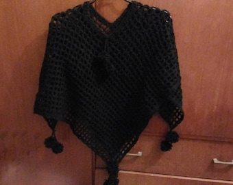 Black poncho crocheted stitch fancy tassel