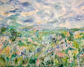 Original Art Print. Landscape cloudy sky pink,yellow,blue,green,gray original oil painting by BrandanC
