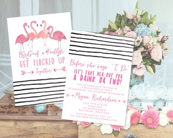 """Pink Flamingo """"Get Flocked Up"""" Together Bachelorette Party Invitation (Priced per Invitation with Envelope)"""