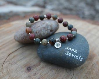 """Root Chakra """"Grounding"""" Bracelet Red Creek Jasper"""