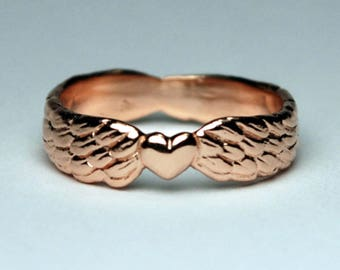 Solid Pink Gold Winged Heart Ring