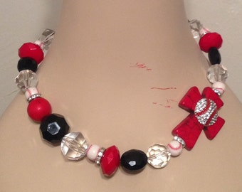 Baseball Side Cross Beaded Necklace