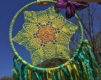 Bright Tie Dye Crochet Doily OOAK Dreamcatcher Wall Art Home Decor