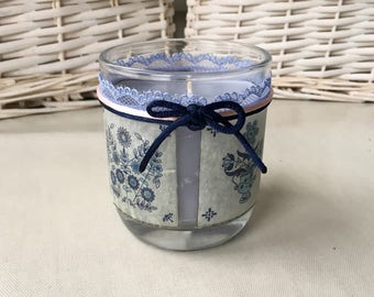 Patchouli scented handpoured candle upcycled repurposed holder