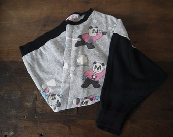 Vintage heather thrashed see through paper thin Panda snowball fight raglan sweatshirt nighty / 80s panda thin raglan sweatshirt