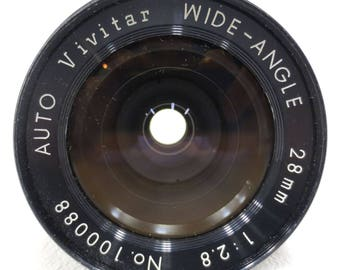 Vivitar Camera Lens Zoom Auto Wide Angle 28 mm 1:2.8, No 100088