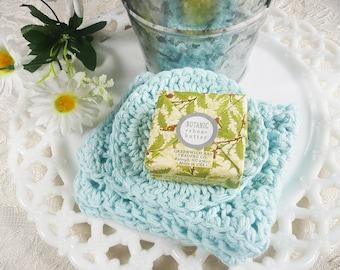 Crochet Spa Cloth, Reusable Light Blue Bath Spa Cloth Set in a Pail, cotton/polyester, crochet facial cloth, spa set, makeup remover