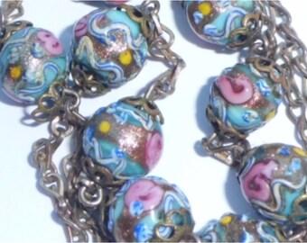 Vintage Art Deco Venetian Wedding Cake Glass Bead Necklace