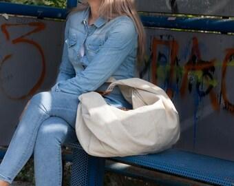 SALES Large hobo bag in offwhite canvas and brown leather, shoulder purse carryall bag oversized purse everyday bag-Kallia bag
