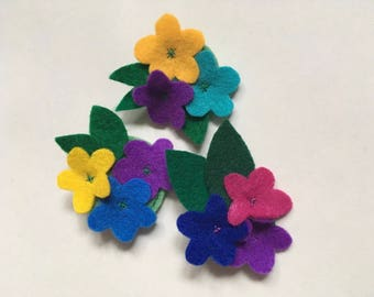 Felt Flower Brooch - Flower Brooch With Leaves