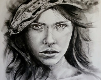 Woman with snake original charcoal drawing
