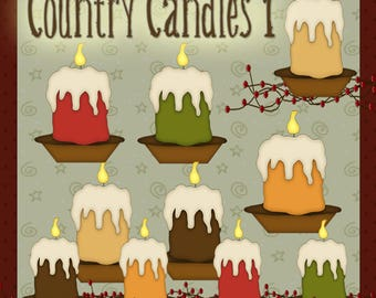 Country Candles 1 - Digital Country Candle Images for Scrapbook & Paper Crafts
