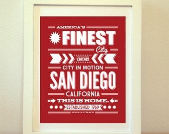 San Diego, San Diego Typography, San Diego Print, San Diego Art, San Diego Sign, San Diego Poster, San Diego California, Typography, Cali
