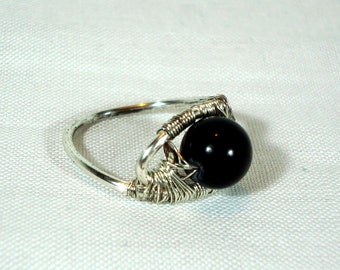 Black Jade Wire Work Ring