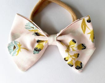 Large classic bow in Pale Pink Blossoms | Headband and Hair Clip
