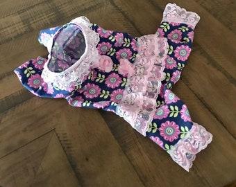 Small Dog Pajamas- PJ's-Sweater Lacey Ruffles