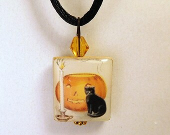PUMPKIN & BLACK CAT Pendant / Halloween Jack-o-Lantern / Scrabble Tile Necklace with Satin Cord / Beaded Charm