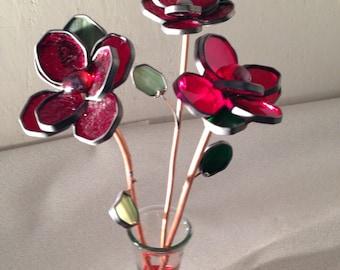 3 Red Long Stem Rose Bouquet - Valentine's Day, Anniversary, Birthday, Wedding, Table Arrangement, I Love You, Sympathy