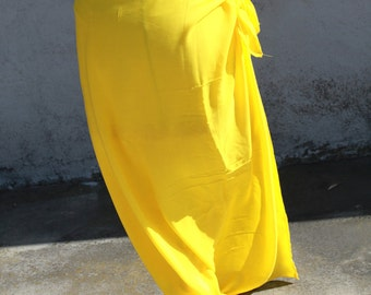 YELLOW-Pareo-solid color-full and half sized-rayon- sarong-lavalava-Tahitian costume skirt, Tahitian costume, Tahitian pareo,
