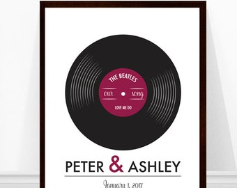 Wedding Song Print, Vinyl Record Print, Our Song, Personalized Wedding Gift, Anniversary Print, Wedding Gift Ideas, Record Art Print