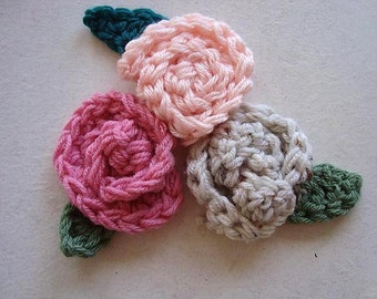 CROCHET PATTERN - Rolled Rose Flower and Leaf