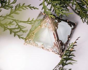 Glass Pyramid glass, Glass  casket, Geometric Box, Geometric Glass Box, Jewelry Box, Jewellery Box, wedding box, ring box, glass casket